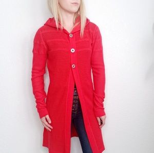 Title Nine Red Hooded Open Knit Duster Cardigan